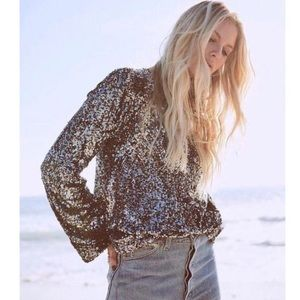 NWT Equipment Femme Abeline Sequin Long Sleeve Top
